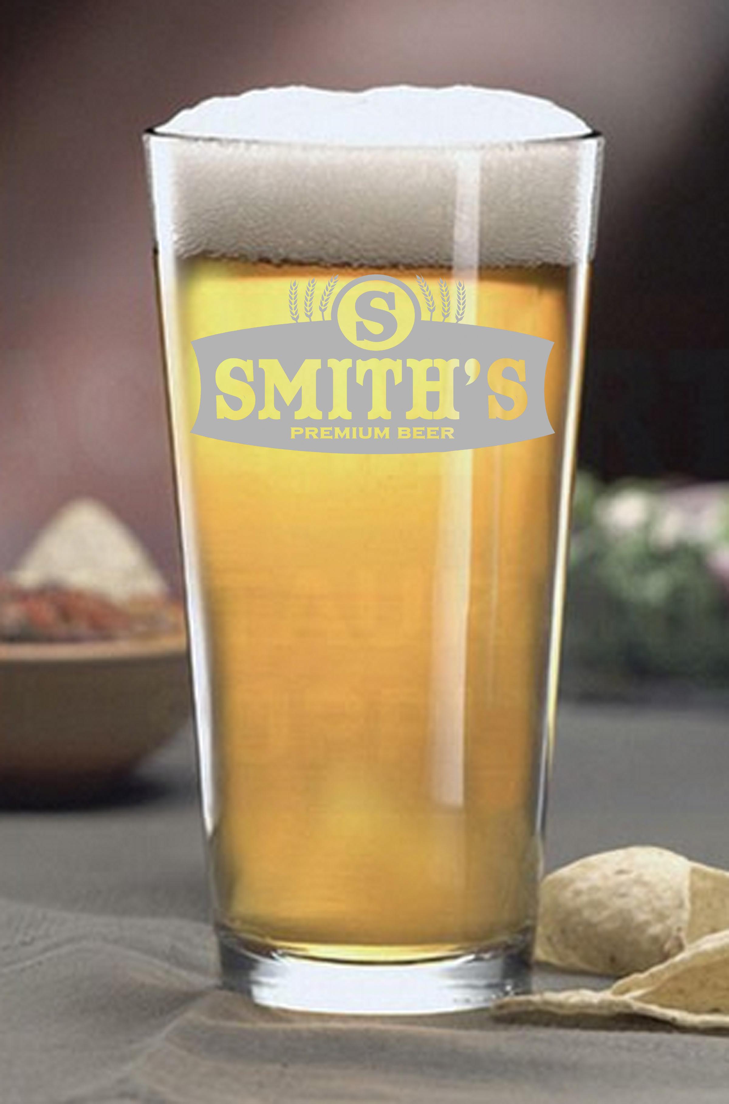 16 ounce Pint Beer Glass - Mini Oak Barrels